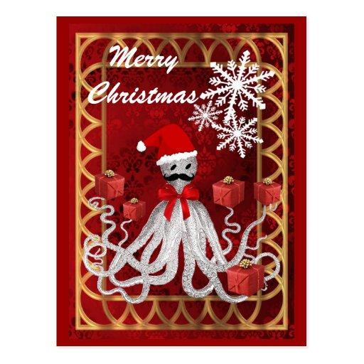 Funny Santa vintage steampunk Christmas octopus Postcards