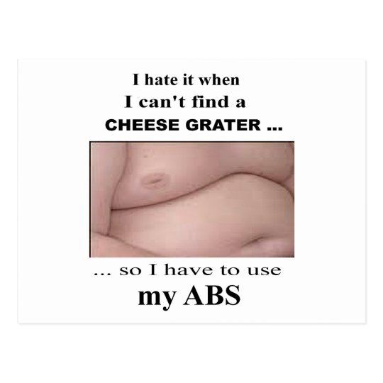 Funny Sarcastic Cheese Grater Abs Postcard