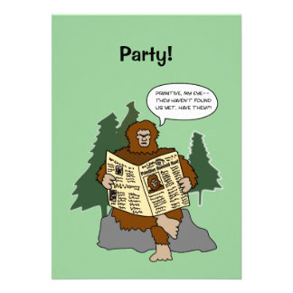 Funny Sasquatch Cartoon Custom Party Invitations