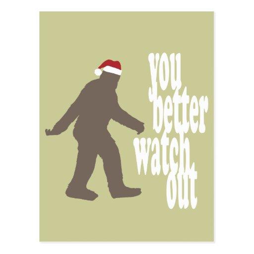 Funny Sasquatch Santa Christmas Post Cards