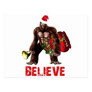 Funny Sasquatch Santa Claus Christmas Design Postcards