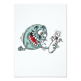 "funny savage hungry bowling ball humor 5"" x 7"" invitation card"