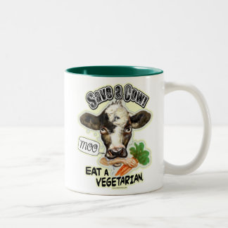 Funny Save a Cow Eat a Vegetarian Gifts Two-Tone Coffee Mug
