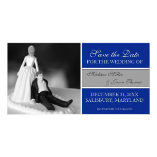 Funny Save the Date Announcements Royal Blue Photo Greeting Card