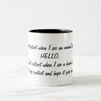 Funny Say Hello to Animals, Avoid Humans Two-Tone Coffee Mug