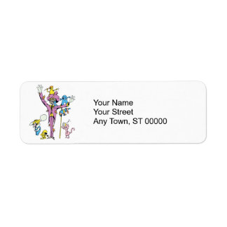 funny scarecrow and friend vector cartoon return address label