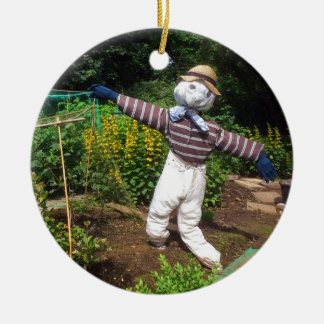 Funny scarecrow christmas ornament