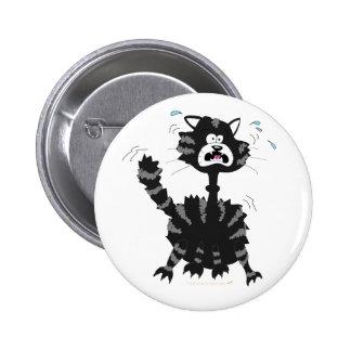 Funny Scared Black Cat Cartoon Halloween 6 Cm Round Badge