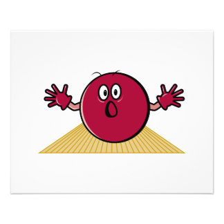 funny scared bowling ball going down alley cartoon flyer design