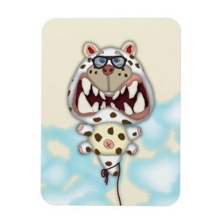 Funny Scared White Cat Balloon With Glasses Flexible Magnet