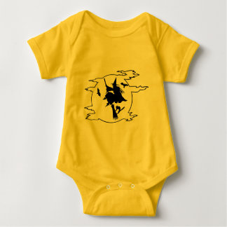 Funny Scary Witch on Broomstick Halloween Bodysuit