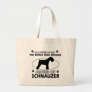 funny SCHNAUZER designs Large Tote Bag
