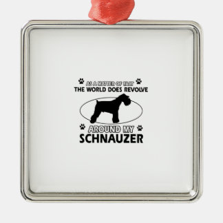 funny SCHNAUZER designs Silver-Colored Square Decoration