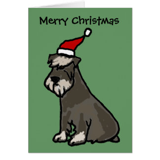 Funny Schnauzer in Christmas Hat Card