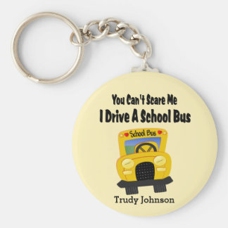 Funny School Bus Driver Key Ring Basic Round Button Key Ring