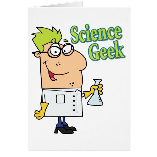 funny science geek cartoon character cards