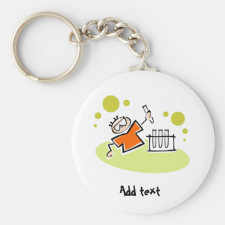 Funny scientist cartoon personalized basic round button key ring