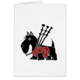 Funny Scottish Terrier puppy dog Playing Bagpipes Card