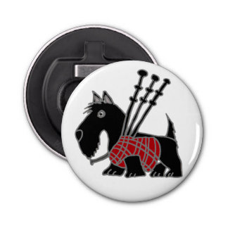 Funny Scotty Dog Playing Bagpipes Bottle Opener