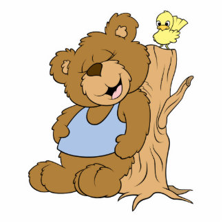 Funny Scratching Back Bear and Bird Photo Cutouts