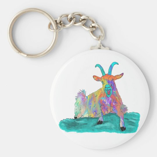 Funny Screaming Goat Animal Art Painting Design Key