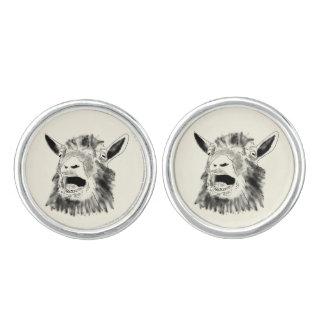 Funny Screaming Goat Drawing Animal Art Design Cufflinks