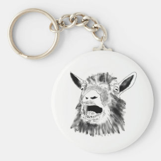Funny Screaming Goat Drawing Animal Art Design Key Ring