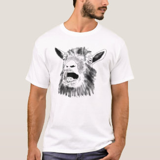 Funny Screaming Goat Drawing Animal Art Design T-Shirt
