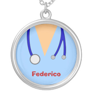 Funny Scrubs Nurses Whimsical Design Silver Plated Necklace