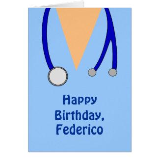 Funny Scrubs Nurses Whimsical Happy Birthday Greeting Card