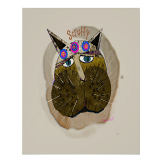 Funny Scruffy Cat Poster