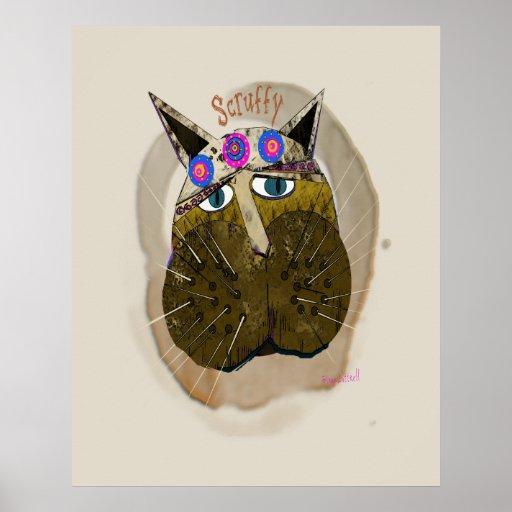 Funny Scruffy Cat Poster
