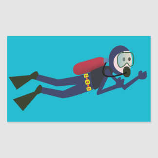 FUNNY SCUBA DIVING DIVER, TANK AND MASK SCUBA GEAR RECTANGULAR STICKER