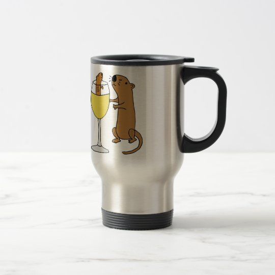Funny Sea Otter Drinking White Wine Travel Mug