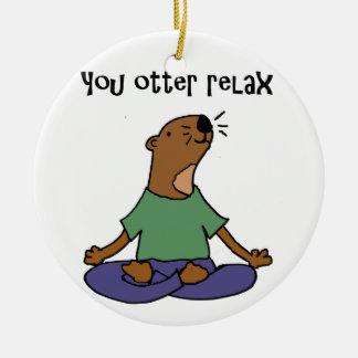 Funny Sea Otter Yoga Artwork Round Ceramic Decoration