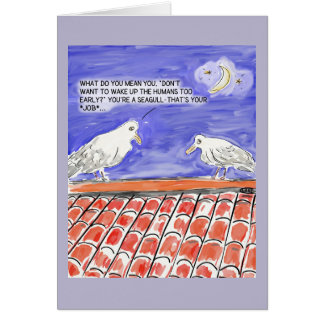 Funny Seagull Cartoon Happy Birthday Greeting Card
