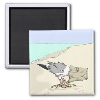 Funny Seagull Fast Food Refrigerator Magnet