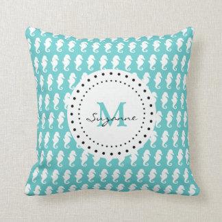 Funny Seahorses Monogrammed Cushion