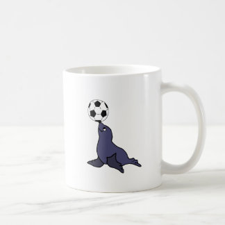 Funny Seal Animal Juggling Soccer Ball Coffee Mug