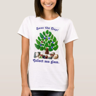 """Funny """"Seas the Day! Collect Sea Glass"""" Tree T-Shirt"""