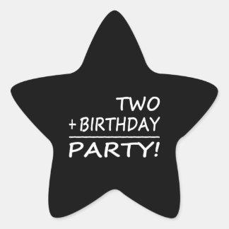 Funny Second Birthdays : Two + Birthday = Party Star Sticker