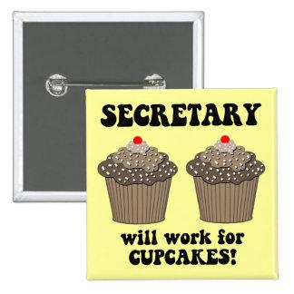 funny secretary 15 cm square badge