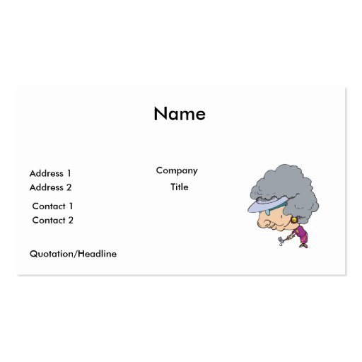 funny senior woman golfer business card templates