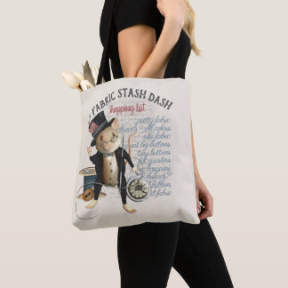 Funny Sewing Mouse Fabric Stash Shopping List Tote Bag
