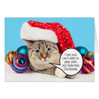 Funny sexy post cat Christmas balls Card