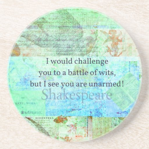 Funny Shakespeare insult quotation Elizabethan art Coasters