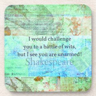 Funny Shakespeare insult quotation Elizabethan art Drink Coasters