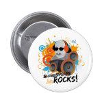 "Funny Shakespeare Slogan Gift ""Shakespeare Rocks"" Pinback Buttons"