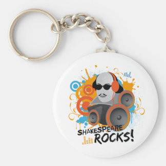 """Funny Shakespeare Slogan Gift """"Shakespeare Rocks"""" Key Ring"""