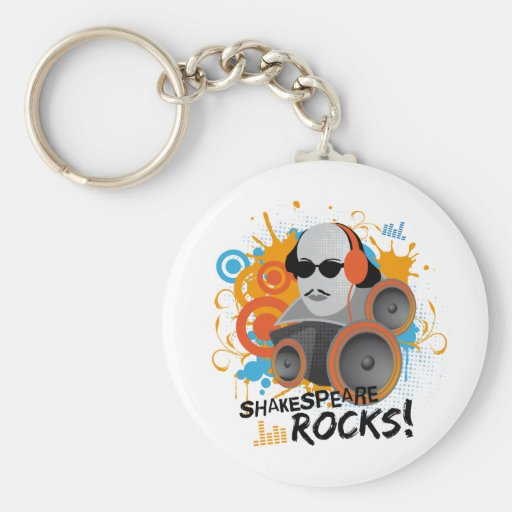 "Funny Shakespeare Slogan Gift ""Shakespeare Rocks"" Keychains"